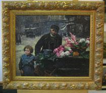 Blumenhändler, Öl auf Leinwand