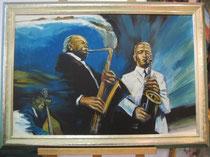 Jazzmusiker, Öl auf Leinwand