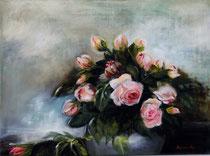 Les roses (huile sur toile 40X35)