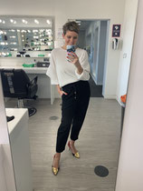White top, Black cropped trousers, metallic heels - all Zara (old)