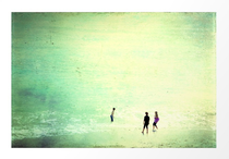 """""""Big Sea"""" Artistic, textured and hand painted photograph of three kids playing in the beach. Available for sale in Society6, Curioos and Redbubble"""