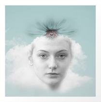 """""""A girl who lived in a cloud"""" Mixed media, photography, collage, digital art, vintage art, digital painting, contemporary art"""