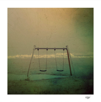 """""""Forgotten Swings"""" color and hand painted photograph"""