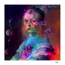 """""""Posing for a magical story"""" Digital collage, digital art, portrait, flowers, surreal, mixed media, contemporary art."""