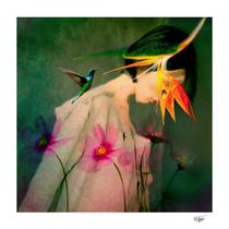 """Woman between flowers / La mujer entre las flores"" digital collage, photography, digital manipulation, soul art, contemporary art"