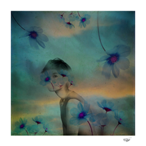 """""""Woman hidden in a world of flowers"""" Artistic color photograph with textures and double exposure. The woman become camouflaged with the flowers and is a metaphor of the desire of the union of humanity with nature."""