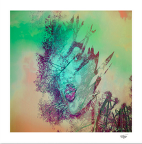 """hand painted and double exposure photograph, """"She"""", artistic portrait"""