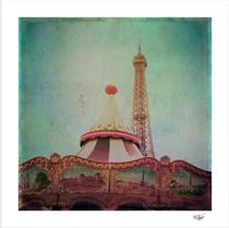 """Bohemia of Paris"" textured vintage carrusel and eiffel tower photograph"