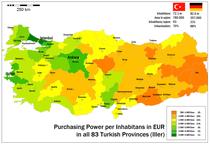 Kaufkraftermittlung der 83 türkischen Provinzen