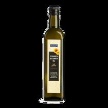 hochwertiges Öl mit goldgelber Farbe und feinnussiger Note; kalt gepresst; eignet sich hervorragend für Salate, zum Kochen und Dünsten