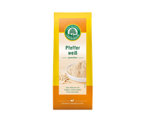 Weißer Pfeffer schmeckt aromatisch und mild scharf.  Er besteht aus den hellen Kernen reifer Pfefferbeeren, die aufwendig von ihrem Fruchtfleisch befreit wurden. Runden Sie helle Soßen, Suppen, Fisch und Tofu mit weißem Pfeffer ab. 50g