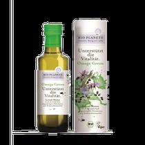 Omega Green ist eine Ölmixtur aus Leinöl, Kürbiskernöl, Borretschöl und Schwarzkümmelöl. Alpha-Linolensäure trägt bei einer täglichen Aufnahme von 2 g zur Aufrechterhaltung eines normalen Cholesterinspiegels im Blut bei.