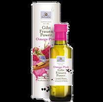 Omega Pink, die Ölmixtur aus Leinöl, Sonnenblumenöl, Borretschöl, Granatapfelkernöl, Zimtrindenöl, Himbeerpulver, Kurkuma & Pfeffer ist abgestimmt auf die Bedürfnisse junger Frauen und Mädchen.