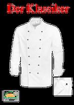 Kochjacke - 100% Baumwolle~220g/qm, mit Knöpfen, Langarm