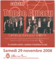 Affiche 2 Concert novembre 2008 Tupac Amaru - Villiers sur Marne