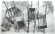 Ausgangssperre Corona 4, Zeichnung Kohle auf Papier, 100x165cm, 2020
