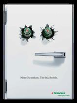 Image-Kampagne Heineken zur Einführung der (größeren) 0,5 l Flasche. Die Kühlschrankmagneten zur Kampagne wurden auch wirklich produziert,