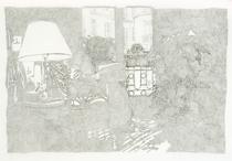 Cristina Ohlmer, RACHIDA LIEST ARAKI,  2005, Chinatusche auf Transparentpapier, 90 x 120 cm