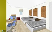 Schlafraum mit 4 Einzelbetten