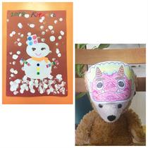 1月27日「雪だるまとフィンガーペイント」と「鬼のお面」