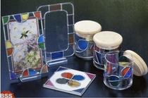 グラスアート(ダイソーなどのグラスまたはアクリルフレームなど。カッター、ハサミ)300円