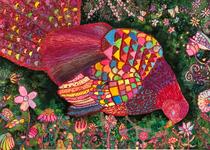 第63回全日本学生美術展 特選作品 赤アクリル絵の具を使ったスクラッチ絵画