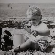 Robert am Ostseestrand in Dänemark. © Irene Hansen, Vordingborg, Sommer 1968