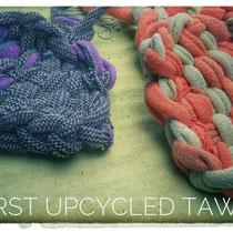 Spülschwämmchen aus alten zerschnittenen Socken gewebt