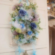 プリザーブドフラワー 壁掛け ブルー