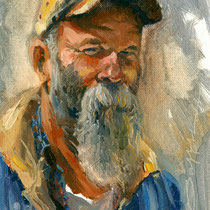 """Seasick Steve"" 5 x 7 oil"