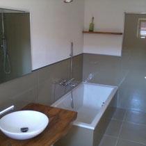Wandverglasung mit Duschwand alleinstehend VSG matt
