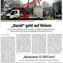 "WAZ Pressebericht v. 29.12.2012 ""David"" geht auf Reisen"