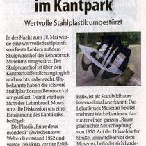 Pressebericht vom 22.05.2010 über Vandalismus an der Skulptur von Berto Ladera.