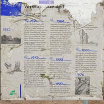 """Baum-Pfad-Informationstafel""""Verwurzelte Zeit Platanen-Tagebuch"""" in schlechtem Zustand, Aufnahme-Datum: 22.02.2020"""