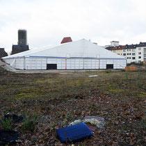 Temporärer Zelt-Aufbau für Karnevalsveranstaltungen, Aufnahme-Datum: 22.02.2020