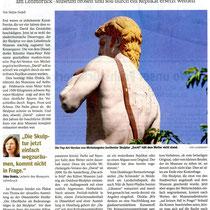 """WAZ Pressebericht v. 29.11.2016 """"David-Skulptur"""" verlässt endgültig den Sockel und wurde eingelagert. Der Grund, man konnte sich nicht alle drei Jahre hohe Kosten für Restaurierung leisten."""