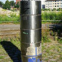 Informationssäule bestehend aus 5 drehbaren Edelstahlsegmenten, Aufnahme-Datum:21.06.2020
