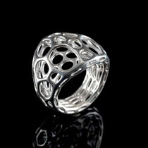 2 layer center Ring - cell cycle - 925 Sterling Silber