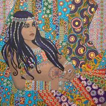 """Zoë Gypsy Queen"" (2016), Acrylic on wood, 80 x 100 cm"