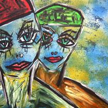 Melancholie in der Zufriedenheit,  Acryl auf Leinwand, ca. H 50 cm x B 60 cm