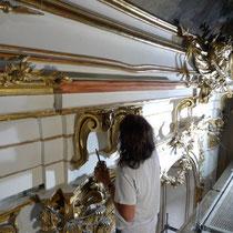 Schloss Schönbrunn Restaurierung Große Galerie 2010-2012 Polierweißfassung und Vergoldung
