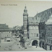 Rathaus um 1900 mit Blick auf Rückerthaus und Rückertstraße