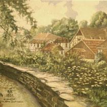 Gemälde Alte Stadtmauer (Unterer Wall) von Johanna Best 1951 - Danke an Klaus Best