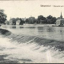 Mainwehr mit Blick auf die Stadt um 1920