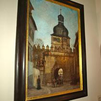 Ein Gemälde des Mühltors im Schweinfurter Museum für Stadtgeschichte
