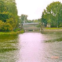 Die Walzenwehr heute an der Maxbrücke