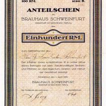 Anteilschein Brauhaus Schweinfurt GmbH vom 01. April 1930 über 100 Reichsmark v. Herrn Georg Kraus, der ebenfalls am 19.September 1930 auf Frau Lina Kuffer übertragen wurde.