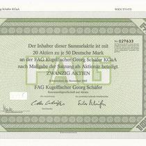Sammelaktie der FAG Kugelfischer Georg Schäfer KGaA über 20 Aktien je 50 DM, November 1985  Unterschriften: Otto Schäfer (Aufsichtsrat) und Fritz Schäfer (Komplementär)