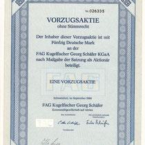 Vorzugsaktie ohne Stimmrecht 50 DM FAG Kugelfischer Georg Schäfer KGaA, Unterschriften: Aufsichtsratsvorsitzender Otto Schäfer und Fritz Schäfer (Komplementär), September 1986