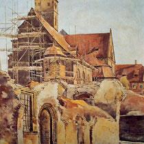 Aquarell Theo Wörfel - Aufbau 1950